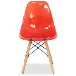 Eames Clear Designer Chair Replica (Red)