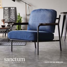 Sanctum Denim Fabric Metal Frame Japanese Armchair (1 Seater)