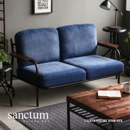 [PRE-ORDER] Sanctum Denim Fabric Metal Frame Japanese Sofa (2 Seater)