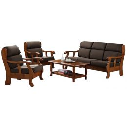 Alonso Solid Wood Sofa Set I