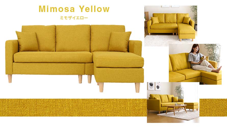 Pick the Mimosa Yellow Color for a bright and lively living room setting.