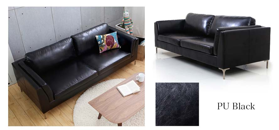 Black PU leather upholstery is also available.