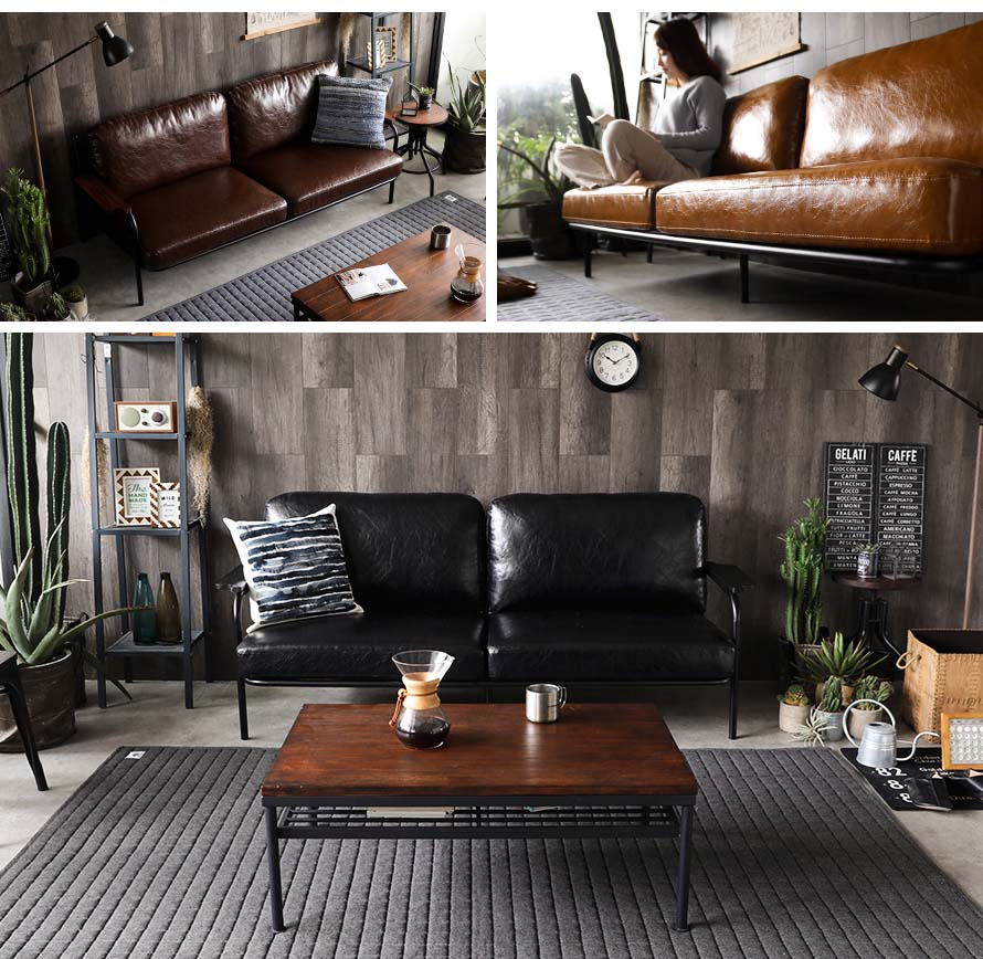 The Sanctum metal frame sofa with solid wood.