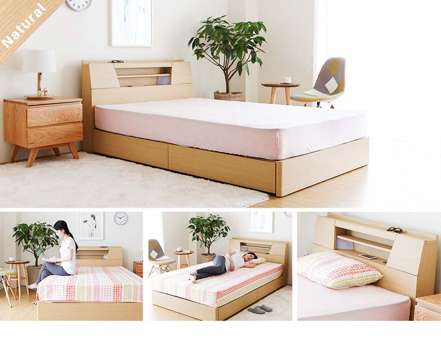 The natural wood color Feliz bed can be seen here.