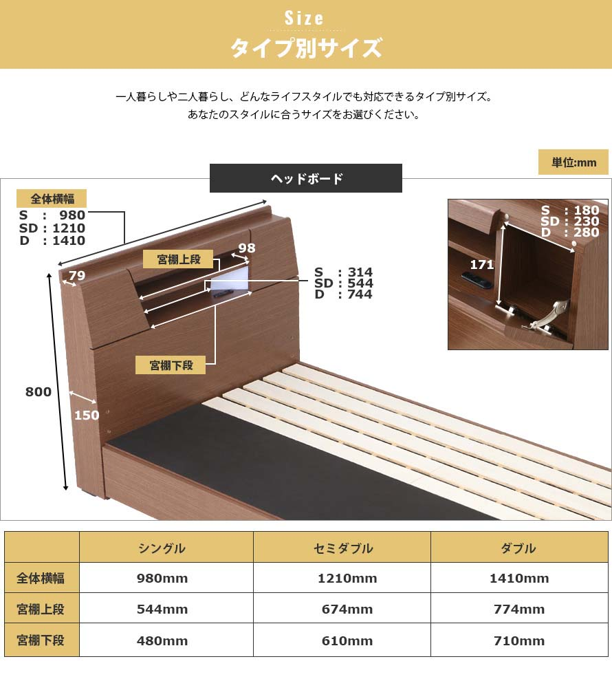 Dimensions of the Feliz bed with measures in mm. Single, Semi-double and double bed sizes measurements.